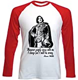 teesquare1st Oscar Wilde Camiseta DE Mangas ROJA LARGAS Size Xlarge